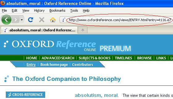 Creating links to resources for Oxford Reference online