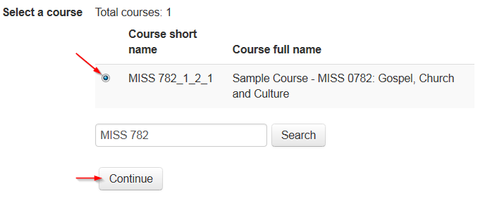 Course search result with radio button selected