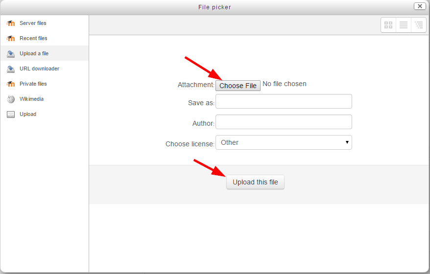 "File picker dialogue with ""Choose File"" and ""Upload File"" buttons highlighted"