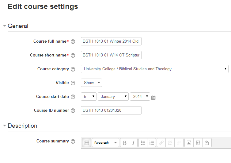 "class.tyndale.ca ""Edit course settings"" screen"