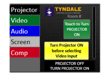 projector On button shown on the LCD